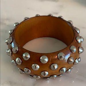 Jewelry - Wood bracelet with silver studs